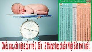 Chiều cao, cân nặng của trẻ 0 đến 12 tháng theo chuẩn Nhật Bản mới nhất