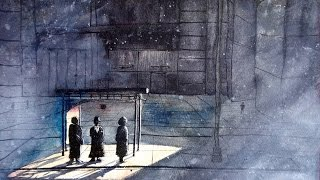 street scene watercolor speedpainting