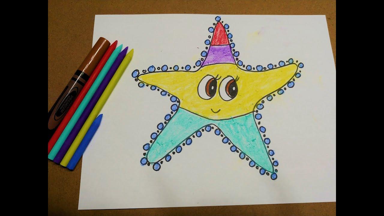 How to draw a cartoon Starfish – Cách vẽ Sao Biển hoạt hình