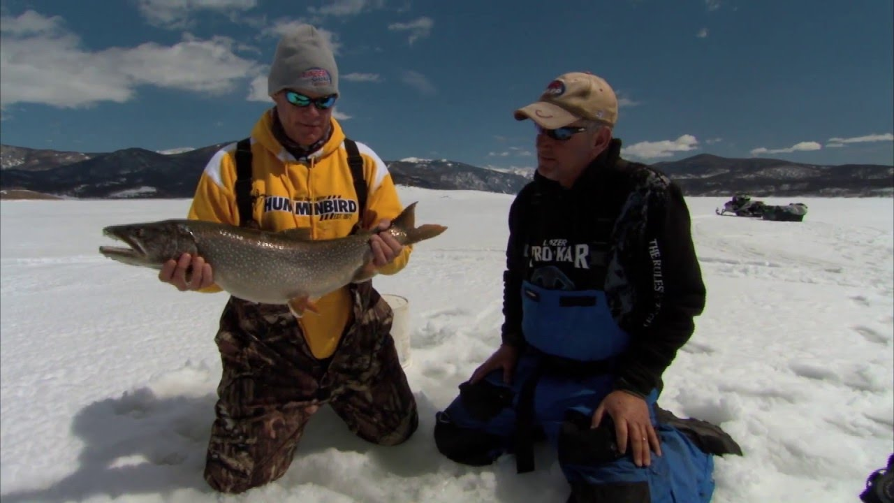 Granby ice fishing for big colorado lake trout with bernie for Lake granby fishing report