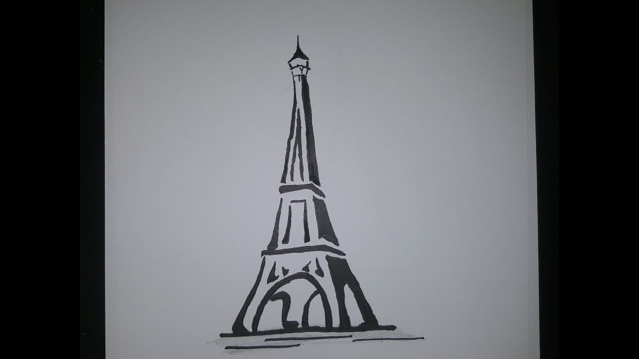 Draw Eiffel Tower Simple And Easy