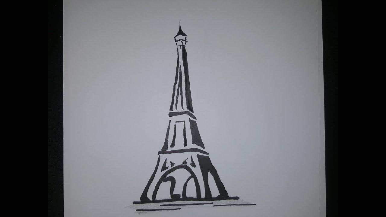 Tower Simple Eiffel Pencil Drawings