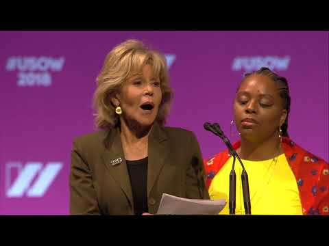 Jane Fonda speaks at the 2018 United State of Women Summit ...
