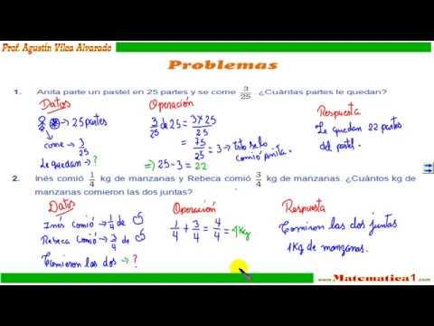 fracciones problemas resueltos de tercero de primaria