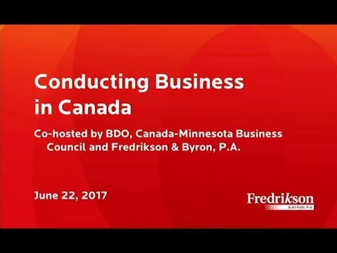 Conducting Business In Canada