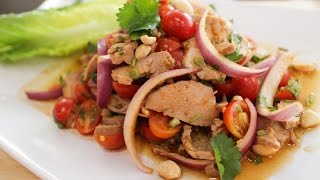 Spicy Roast Pork Salad Recipe ยำหมูอบ - Hot Thai Kitchen