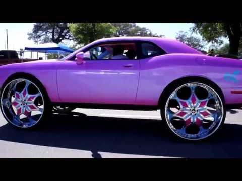 "Dodge Challenger 2017 >> John's Pink Dodge Challenger on 34"" Amani Avida Forged Wheels - YouTube"