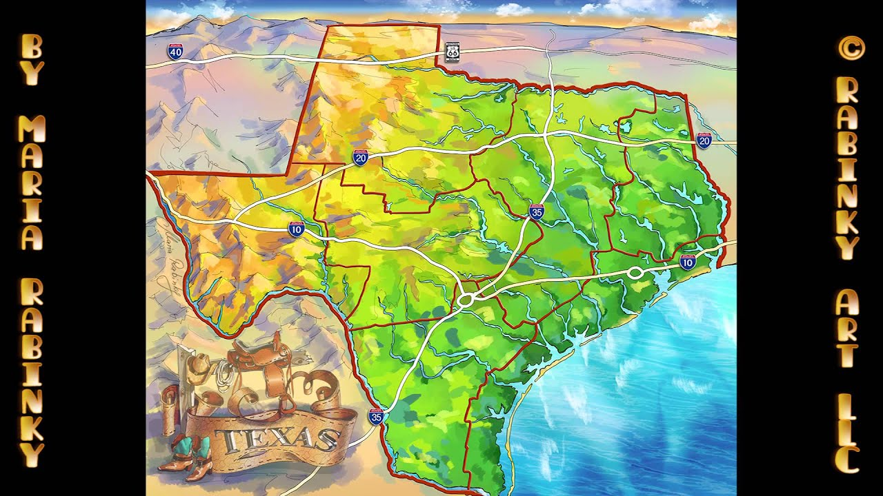 Illustrated Map Of Texas State YouTube - State of texas map