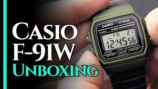 Casio F-91W [UNBOXING] in Military Green - The Definition of Cool!