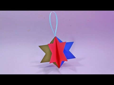 diy-3d-paper-craft-wall-hanging-|-origami-paper-christmas-hanging-star-|-room-decor-ideas