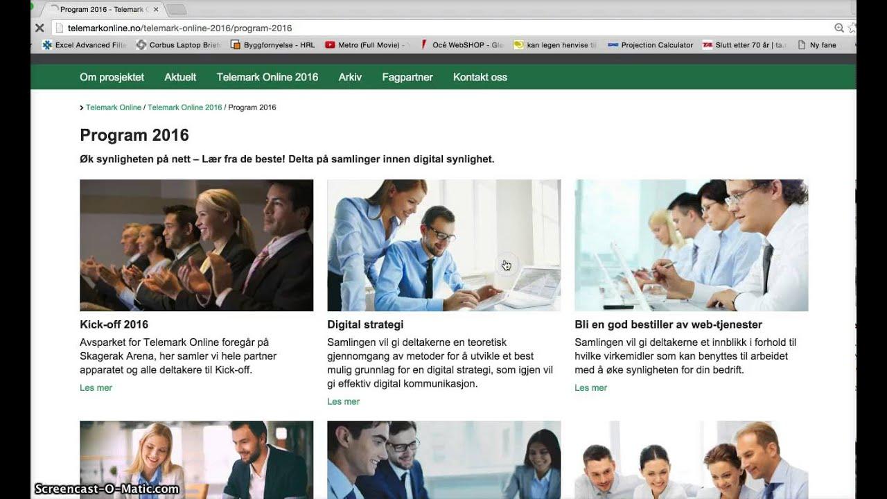 Telemark Online nettside 2016