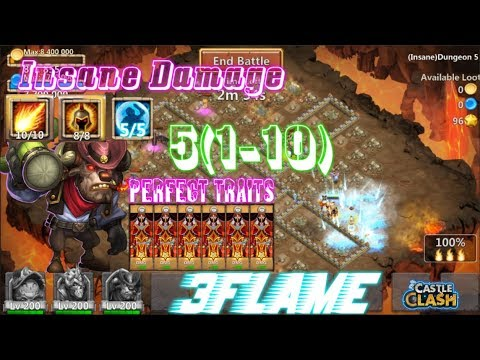 Perfect Traits Mino INSANE! 3hero 3flame Dungeon5(1-10) Castle Clash