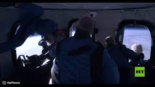 """جيف بيزوس ينشر فيديو من داخل كبسولة """"بلو أوريجين"""" أثناء رحلته إلى الفضاء"""