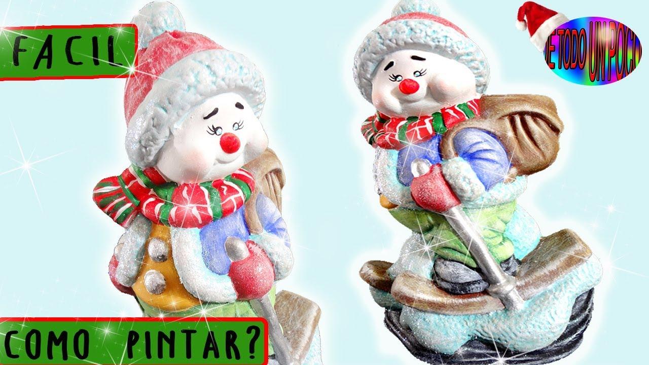 muñeco de nieve navideño en ceramica - Snowman / Christmas - YouTube