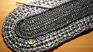 Вязание овального коврика из полиэтиленовых пакетов.  Ряды 5-7