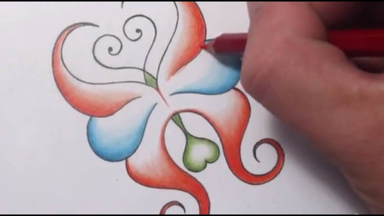 how to draw an abstract butterfly with hearts tattoo