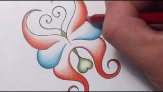 How To Draw an Abstract Butterfly With Hearts Tattoo Design