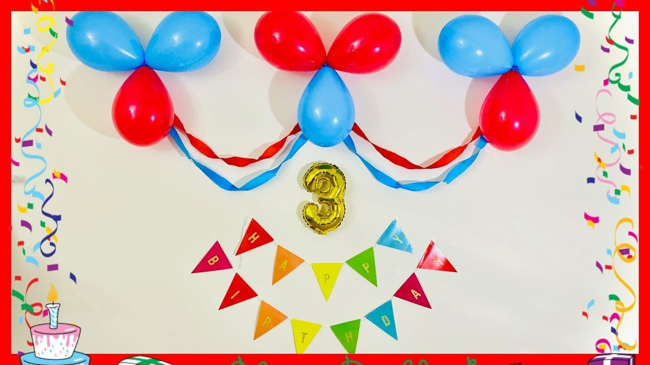 Very Easy Birthday Decoration Very Easy Balloon Decoration At Home Party Decorations Youtube