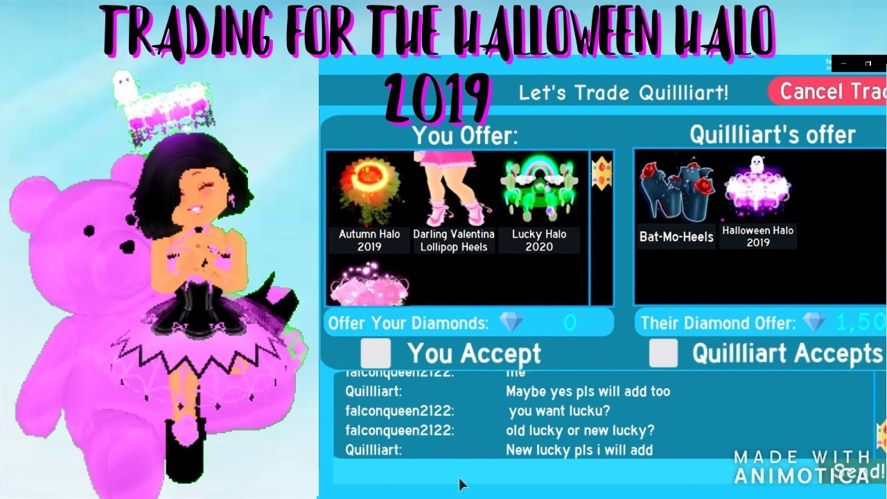 Trading For Halloween Halo 2019 Roblox Royale High Youtube