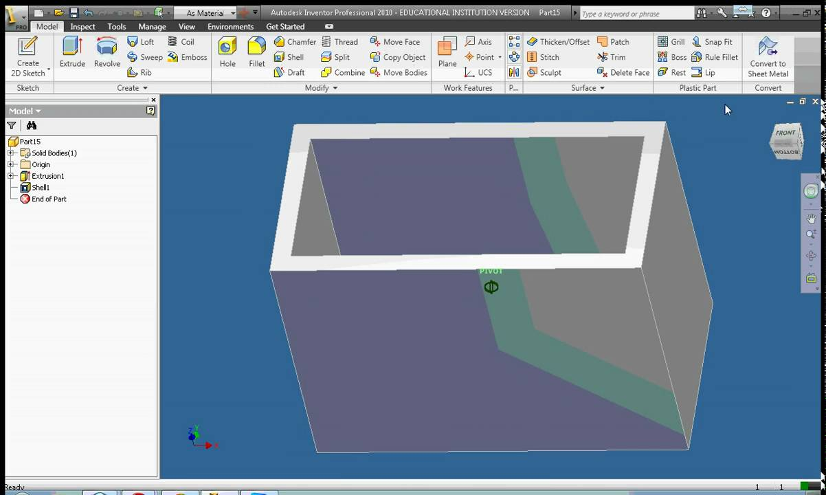 Autodesk Inventor 2010 Lesson 12 Using The Chamfer
