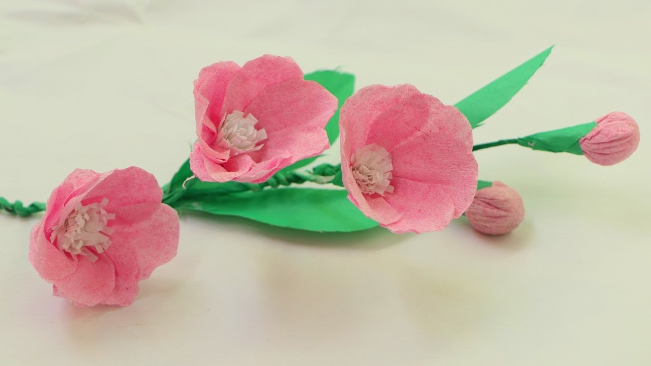 How To Make Origami Paper Flowers With Using Crepe Paper Youtube