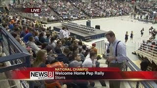 husky fans gather at gampel for pep rally