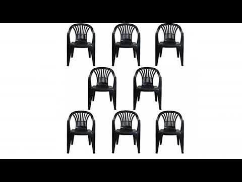 6cd4e9e9fd27 CrazyGadget Plastic Garden Low Back Chair Stackable Patio Outdoor Party  Seat Chairs Picnic Grey Pa