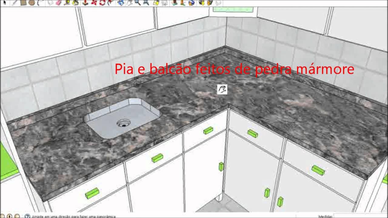Cozinha Planejada (Feita em Google SketchUp 8)  YouTube -> Gabinete De Banheiro Sketchup