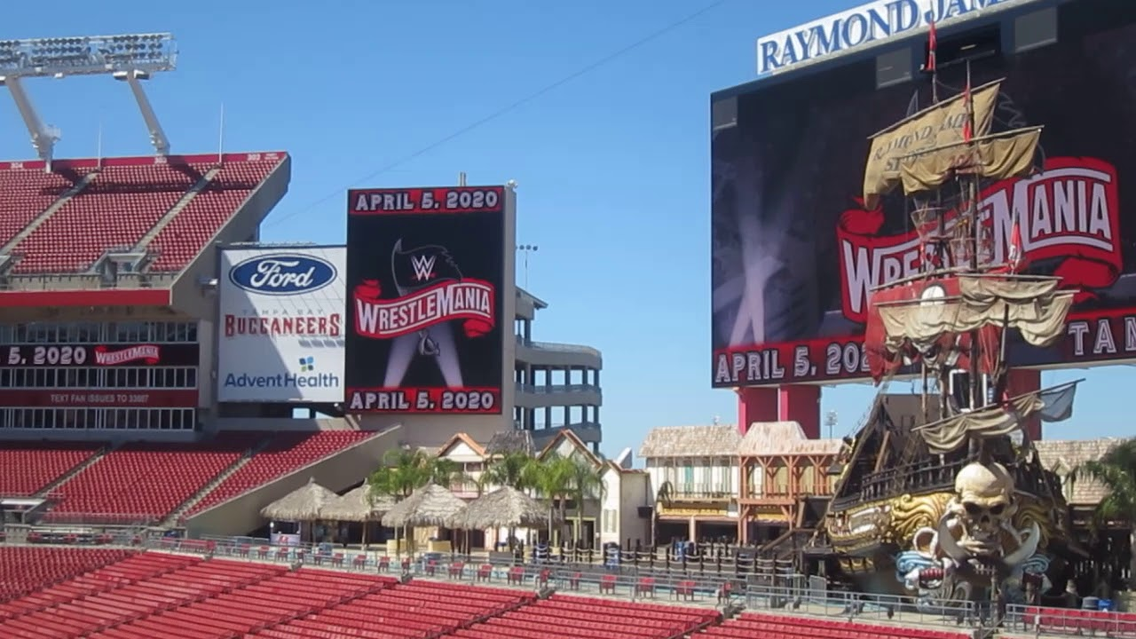 55bc2573 Cool Pirate Ship Inside Raymond James Stadium, home of WWE WrestleMania 36  Tampa