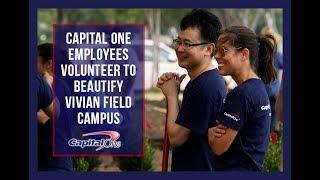 Capital One Employees Volunteer to Beautify Vivian Field Campus