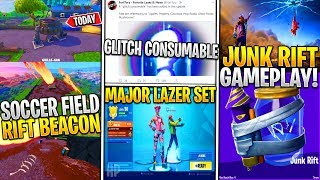 *NEW* Fortnite: Leaked Soccer Field Rift Beacon Explodes, Junk Rift Gameplay, Glitch Consumable!