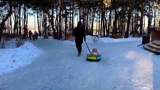 Катание на тюбинге, тюбинг, видео для детей, прогулка по парку, зимние развлечения для детей, дети!