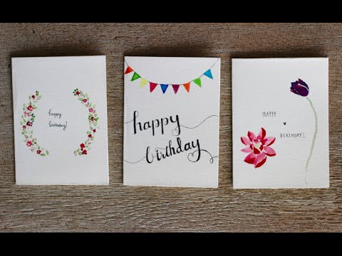 Watercolour Birthday Cards 3 Designs PastelDaisy