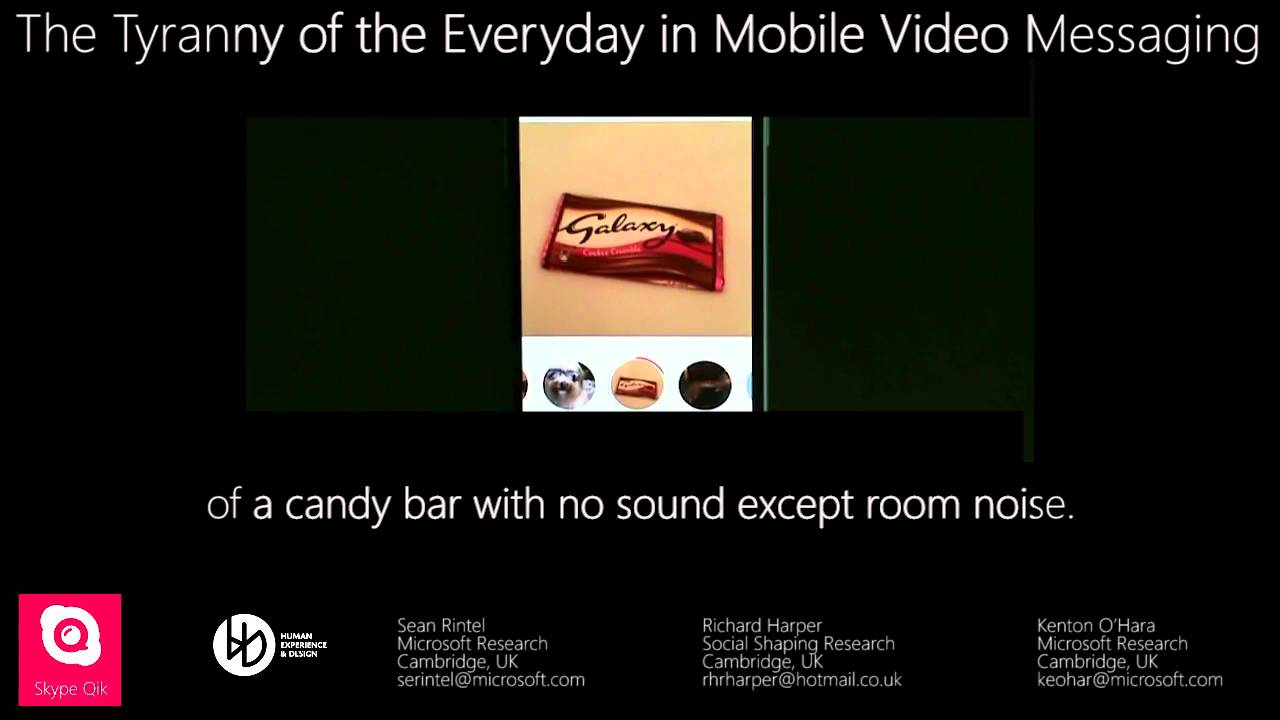the tyranny of the everyday in mobile video messaging  switched on bach ii skype.php #1