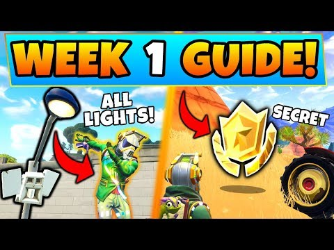 Fortnite WEEK 1 CHALLENGES GUIDE! Streetlight Spotlight LOCATIONS/Treasure (Battle Royale Season 6)
