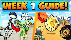 Fortnite WEEK 1 CHALLENGES GUIDE! Streetlight Spotlight LOCATIONS/Treasure (Battle Royale Season 6)