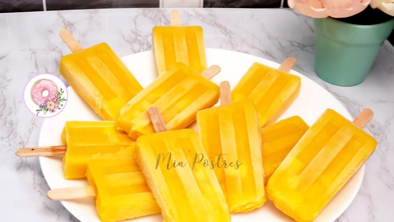 PALETAS DE MANGO 🥭 paletas heladas de mango😋