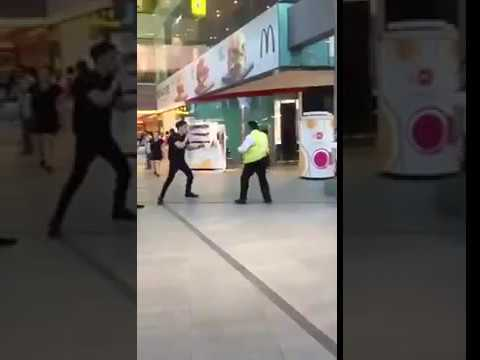 Security Fist Fight in Singapore Shopping Mall