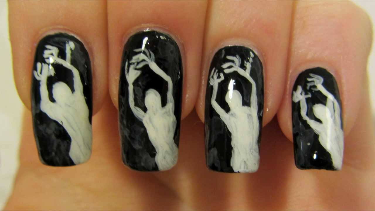 Easy Spooky Ghost Halloween Design in Black and White Nail Art Tutorial -  YouTube - Easy Spooky Ghost Halloween Design In Black And White Nail Art
