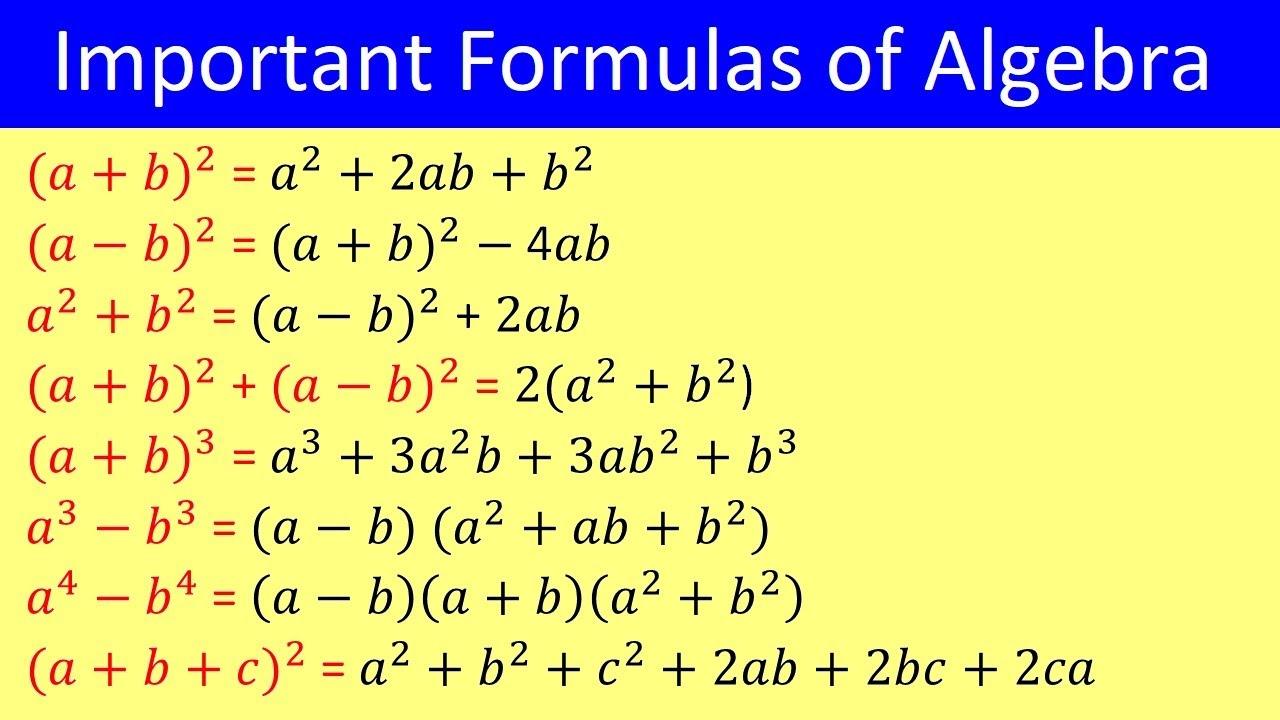 Basic Algebra Formulas | List of Algebra Formula | Algebra Formulas | Important Formulas of Algebra