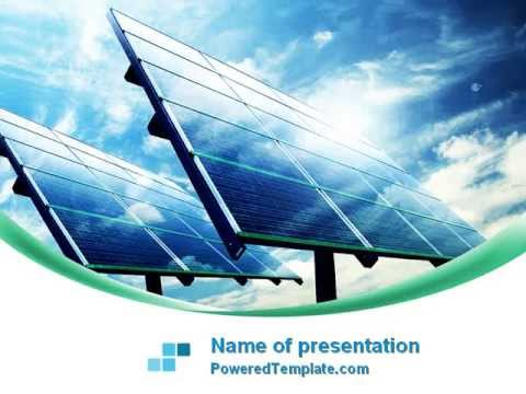 solar panels in blue colors powerpoint templatepoweredtemplate, Powerpoint templates