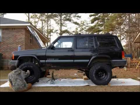 "Timelapse video - Jeep XJ Cherokee w/ Rough Country 4.5"" Lift Install 2wd !"
