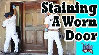 STAINING A DOOR. H๐w to refinish a door. Door glazing tips.