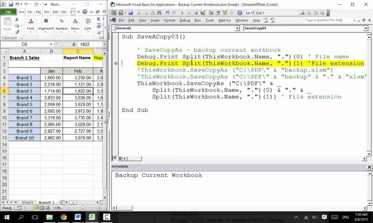 ExVBA 12 Excel VBA Macro Backup Current Workbook YouTube – Excel Vba Current Worksheet