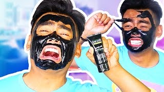 PAINFUL FACE MASK PEEL OFF CHALLENGE! thumbnail
