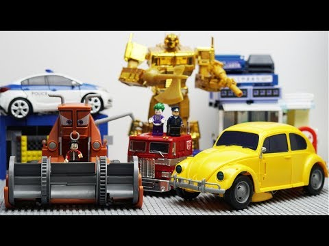 Transformers Bumblebee Disney Frank Warna Robot Truck Lego Bank Perampokan & Mobil Polisi Untuk Anak