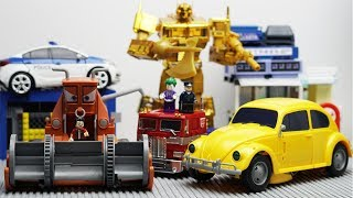 Transformers Bumblebee vs Disney Cars Frank Color Robot Truck Lego Bank Robbery & Police Car for kid