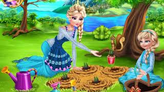 Princess Elsa and her daughter in the garden grew beautiful flowers  Cartoon game