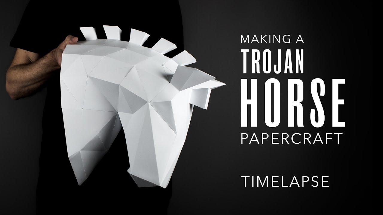 Papercraft Horse Trophy Head Making A Low Poly Trojan