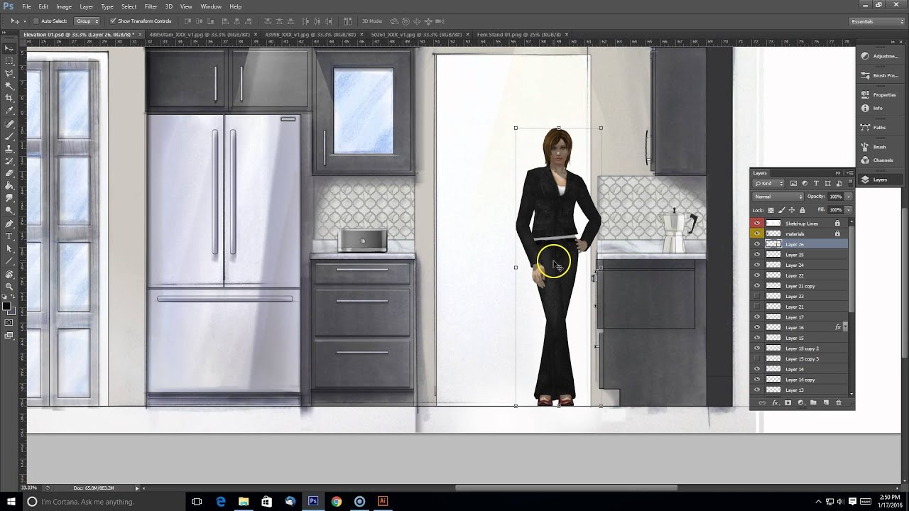 Interior Design Elevation Sketch Render Composite In Photoshop Part 3